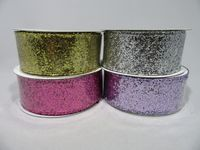 2 metres or Full 10 metre Roll 38mm Wired Silver Glitter Ribbon Sequin UK